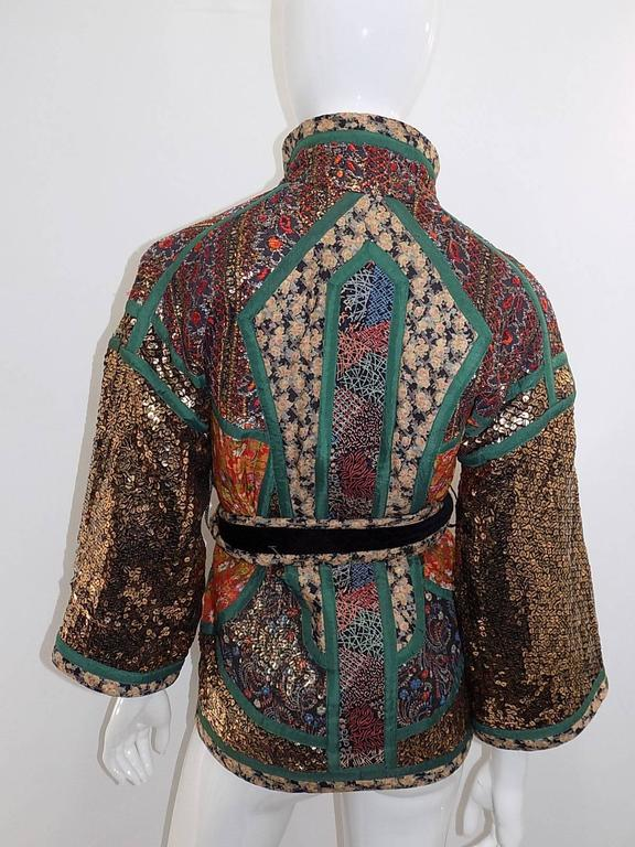Koos Van Den Akker rare evening sequin gold brocade smoking jacket coat 3