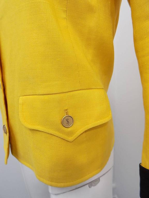 Women's or Men's  Yves Saint Laurent Yellow Vintage  Jacket with YSL Buttons sz 4 For Sale