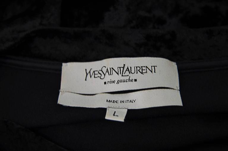 Black Ysl Crystal Logo Velvet Blouse For Sale
