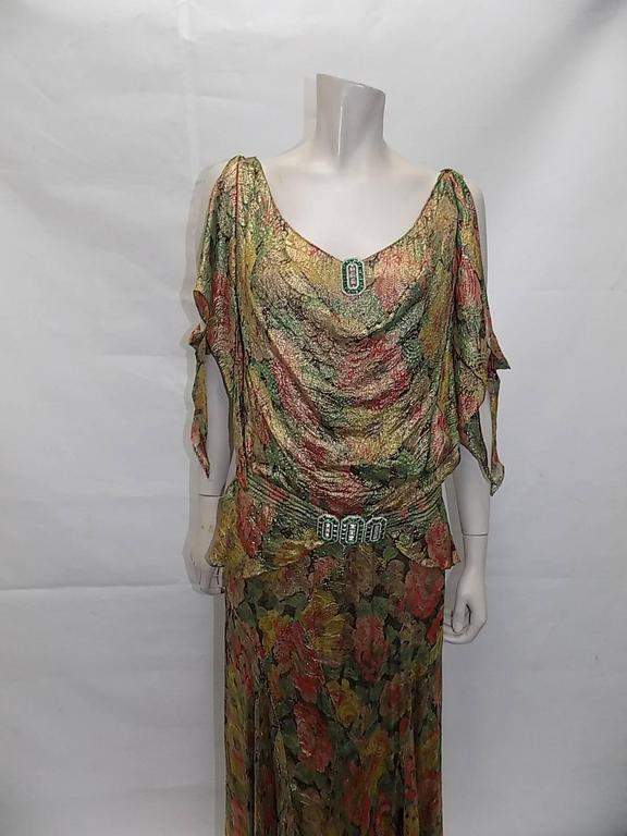1930's  metallic brocade spectacular gown with crystal buckle belt 6