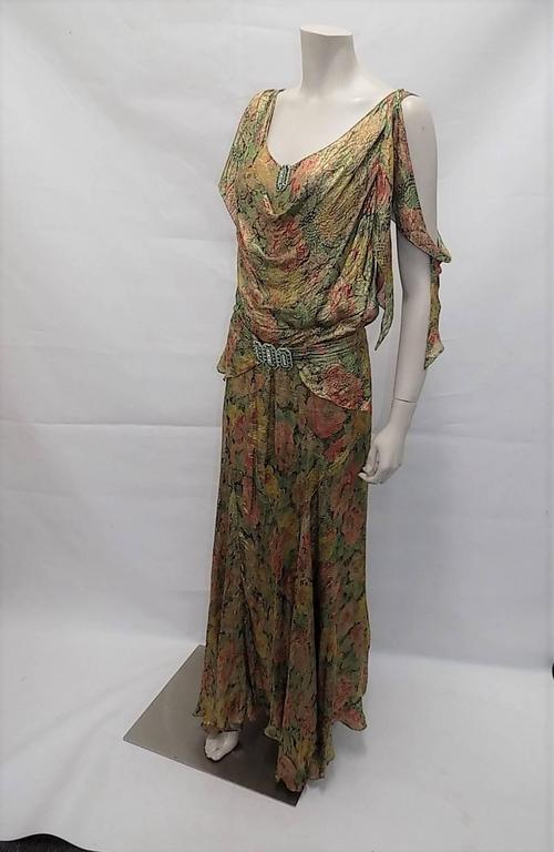 1930's  metallic brocade spectacular gown with crystal buckle belt 5