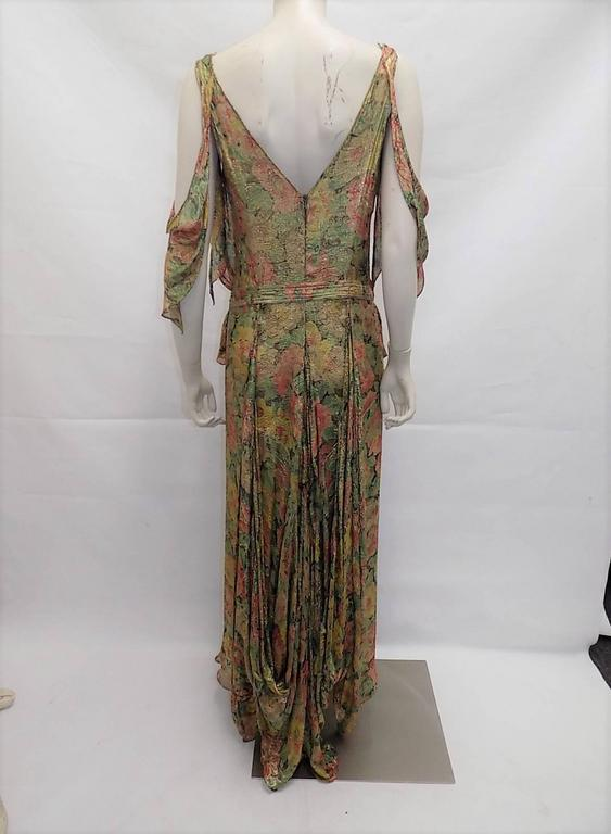 1930's  metallic brocade spectacular gown with crystal buckle belt 9