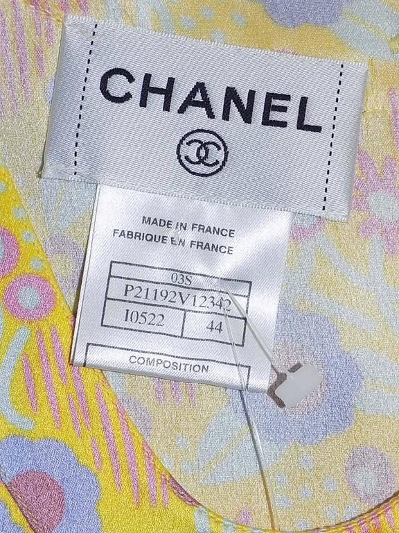 Chanel Silk logo top blouse with scarf sz 44 7