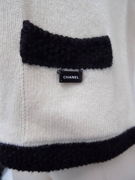 Chanel  Cashmere Ivory - black sweater set cardigan and top  5