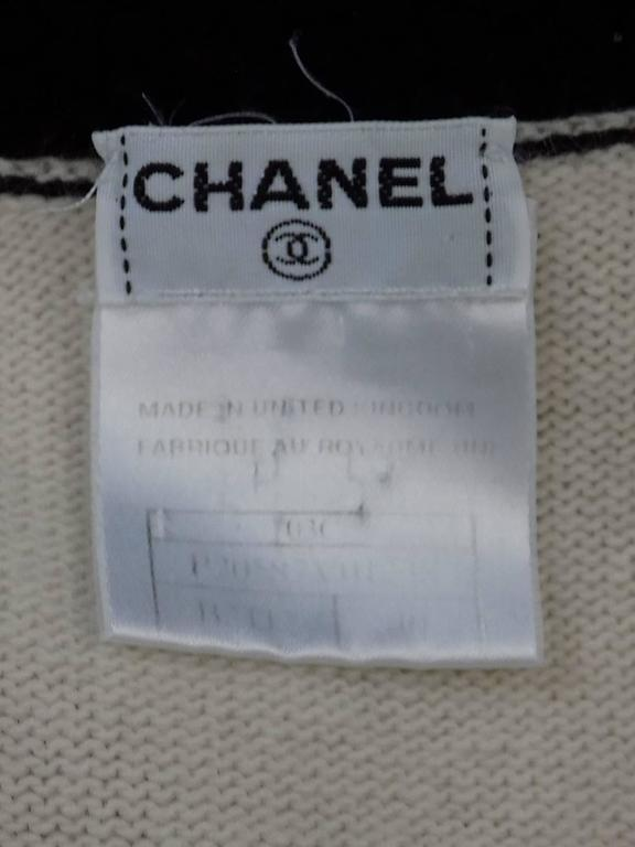 Chanel  Cashmere Ivory - black sweater set cardigan and top  For Sale 3