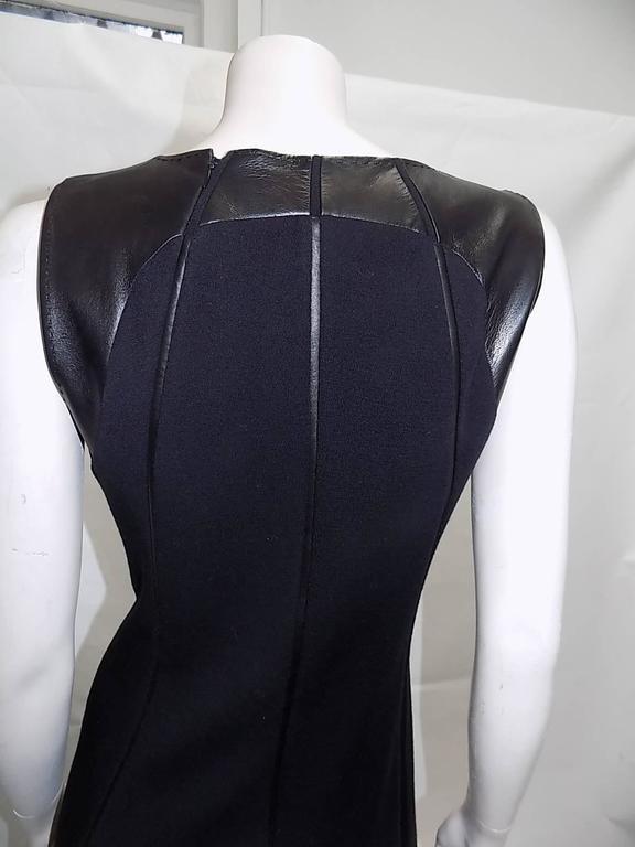 Ralph Rucci Chado Black Jersey dress with Leather Inserts Sz 12 6