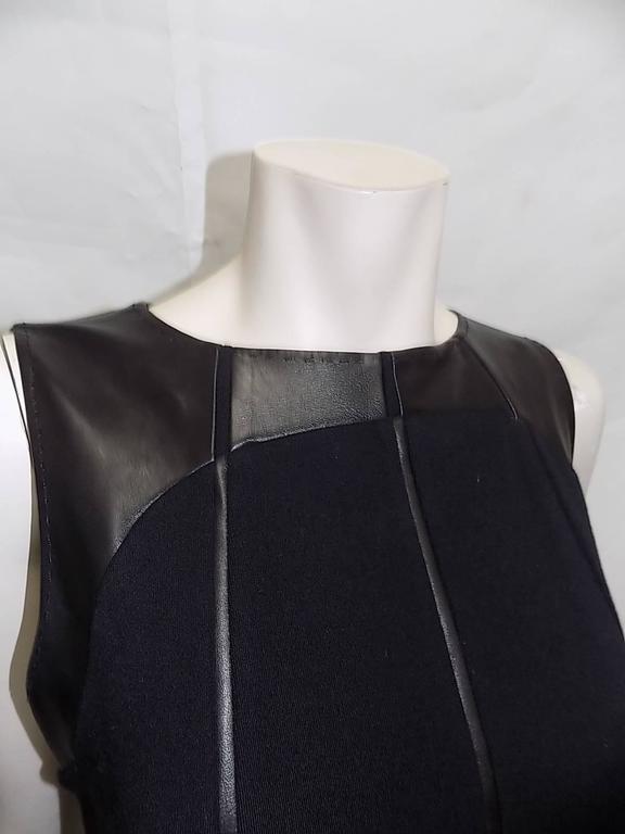 Ralph Rucci Chado Black Jersey dress with Leather Inserts Sz 12 7
