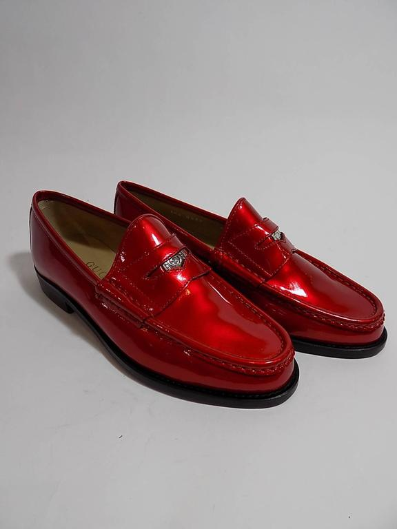 Rare Red Gucci Penny Loafers With Gucci Logo Penny Coin 6