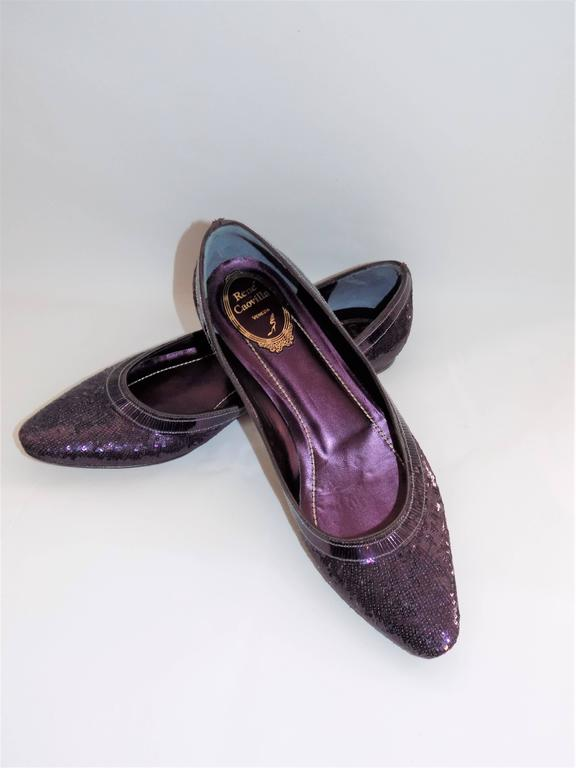 New In box $1700 Rene Caovilla Pailletes Embellished ballet Shoes. Micro sequin ballet flats in violet color. Stunning! Size 38.