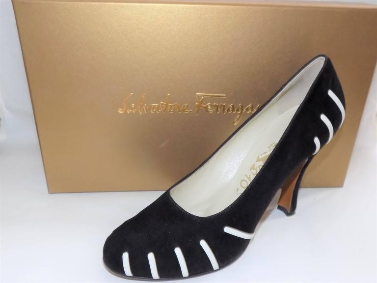 "Beautiful all hand made Salvatore Ferragamo Museum Limited Edition Rare shoes. Black suede with white leather   details. Made only 150 pairs . This is Number 64.   .Luxurios gold   satin sleeper bags and box. Made in Florence, Italy. Heel 3.5"" Size"