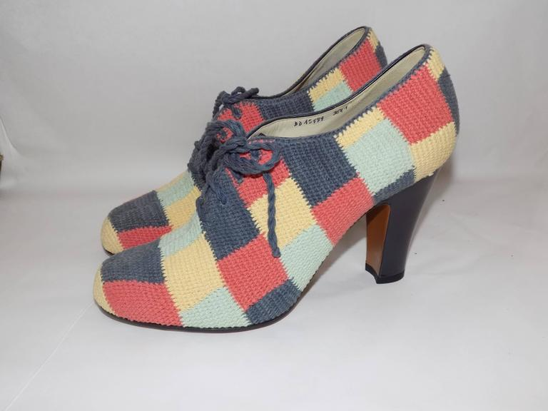Truly  Iconic Salvatore Ferragamo limited  Museum edition Hand  crochet  oxford shoes. Patchwork motif  over leather . with navy leather covered  heel  and trim. . New in Box. Numbered 23 of 150 size 6 1/2. Luxurion gold sleeper bags and box. Hand