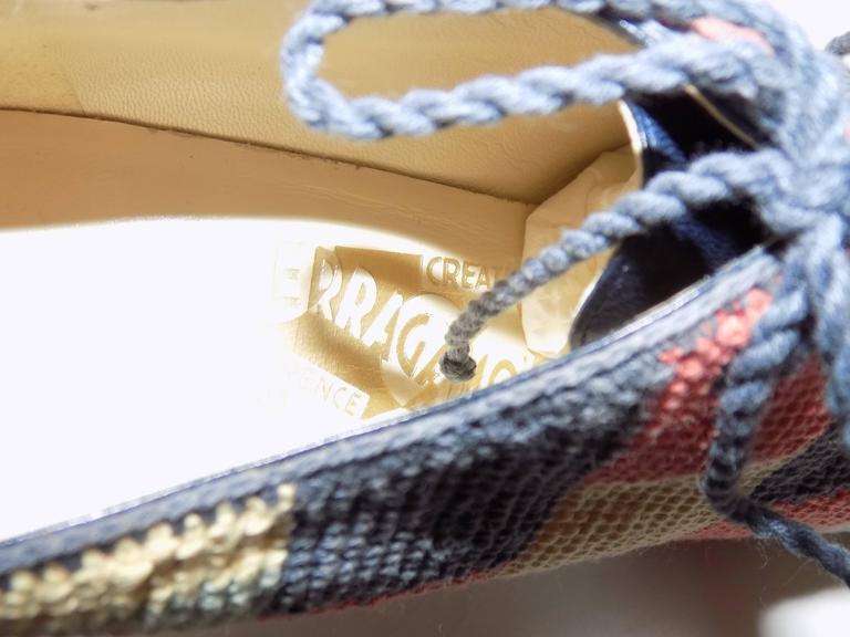 Women's  Iconic Salvatore Ferragamo limited Museum  edition crochet  oxford shoes For Sale