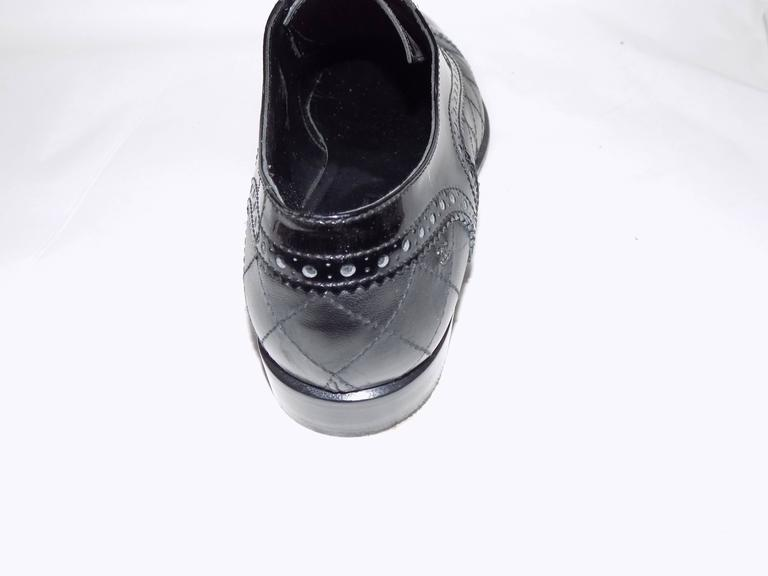 Women's Chanel Black Quilted Oxford Shoes Flats For Sale