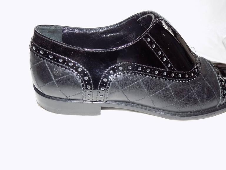 Chanel Black Quilted Oxford Shoes Flats For Sale 1
