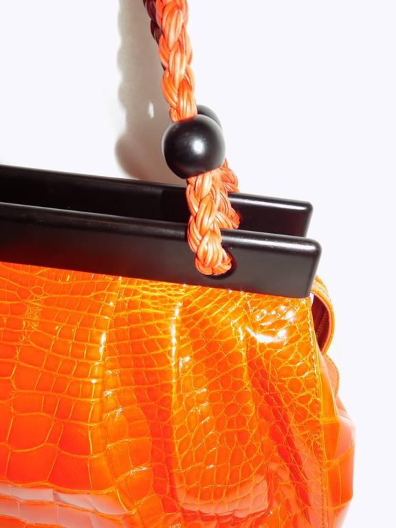 Luxury Suarez Alligator  bag with ebony frame . New! 8