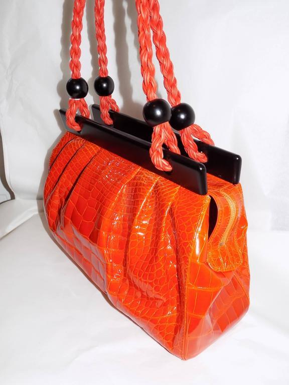 Luxury Suarez Alligator  bag with ebony frame . New! 2