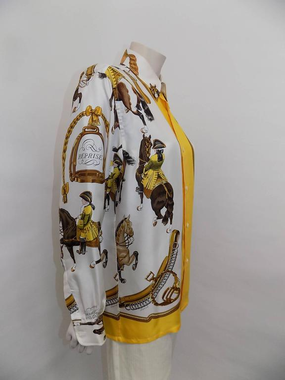 """Hermes vintage silk equestrian buttondown shirt blouse """"Reprise"""".for men 3"""