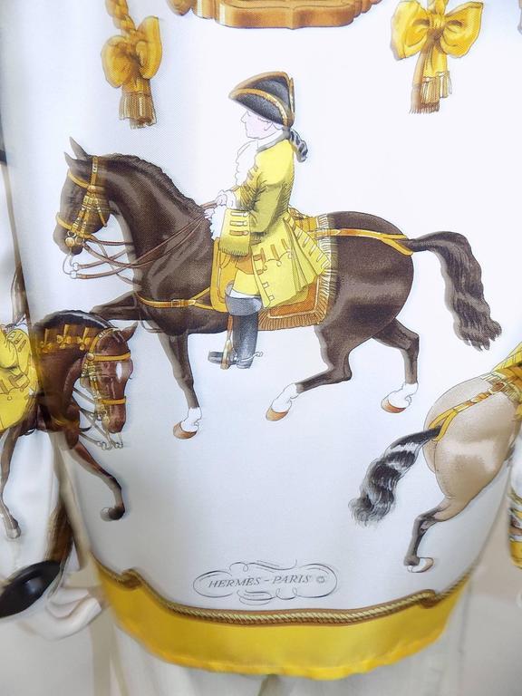 """Hermes vintage silk equestrian buttondown shirt blouse """"Reprise"""".for men 5"""