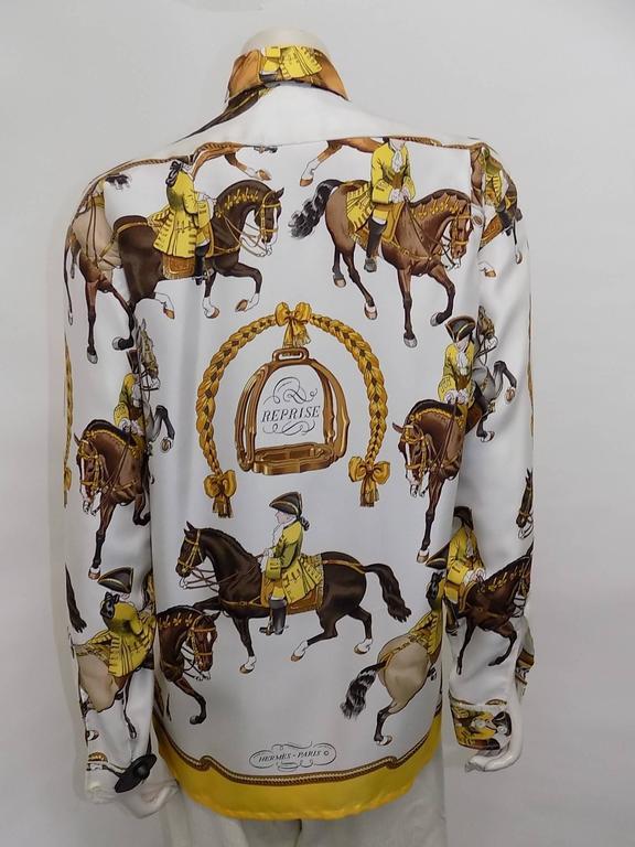 """Hermes vintage silk equestrian buttondown shirt blouse """"Reprise"""".for men 4"""