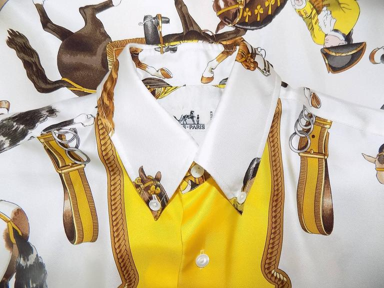 """Hermes vintage silk equestrian buttondown shirt blouse """"Reprise"""".for men 8"""