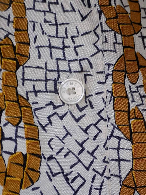Women's Vintage Hermes 'Provence' Shirt/Blouse with Mosaic Print  For Sale