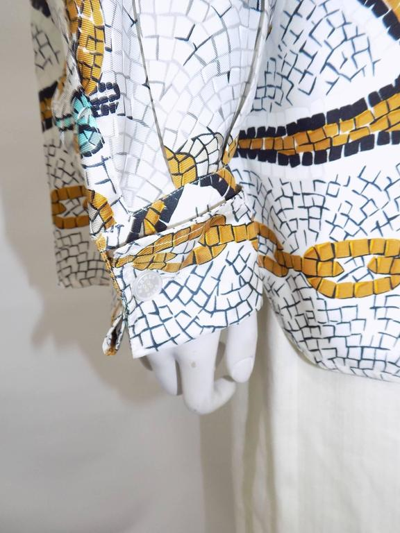 Vintage Hermes 'Provence' Shirt/Blouse with Mosaic Print  For Sale 4