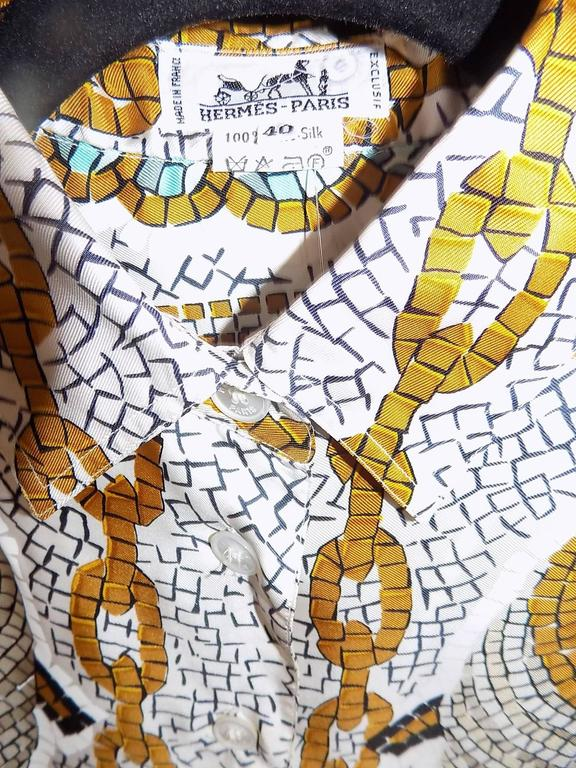 Vintage Hermes 'Provence' Shirt/Blouse with Mosaic Print  For Sale 5