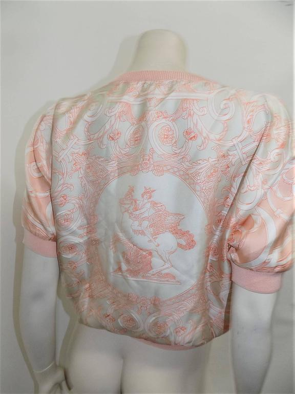 Vintage Hermes 'Les Tuileries' 2pc Sweater Set Cashemere/Silk In Excellent Condition For Sale In New York, NY