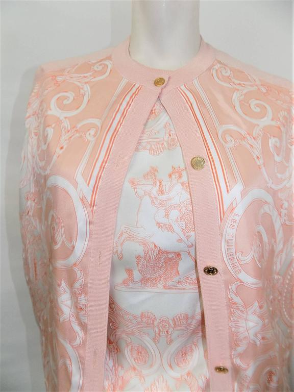 Women's Hermes Les Tuileries Vintage two piece Cashmere and Silk Sweater Set  For Sale