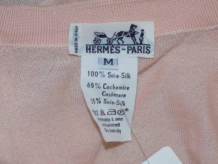 Vintage Hermes 'Les Tuileries' 2pc Sweater Set Cashemere/Silk For Sale 4