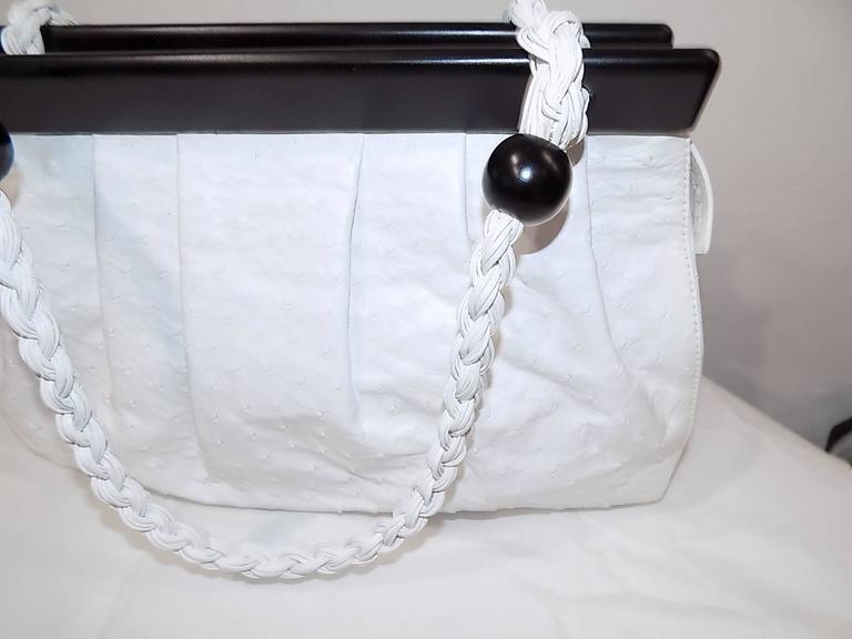 Suarez New white Ostrich Bag with ebony frame 3