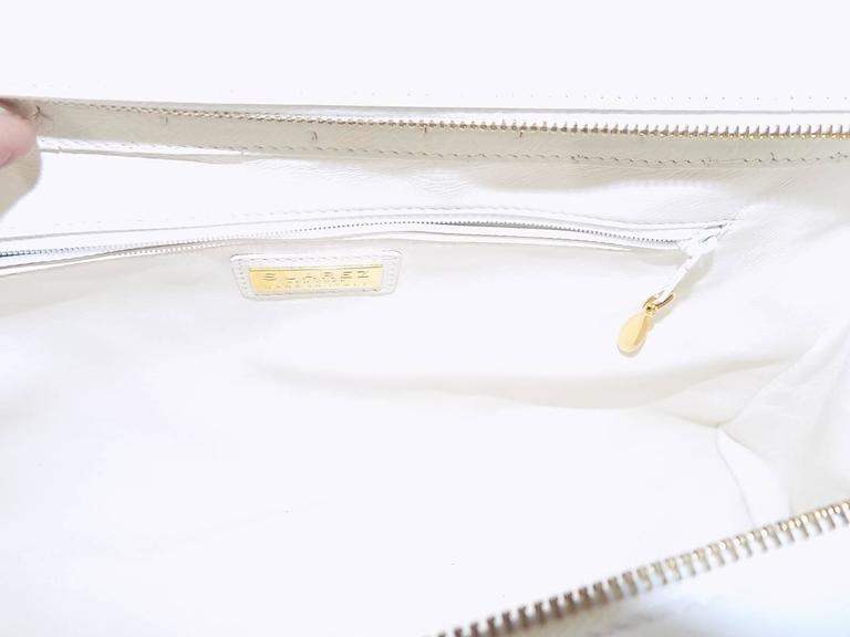 Suarez New white Ostrich Bag with ebony frame 5