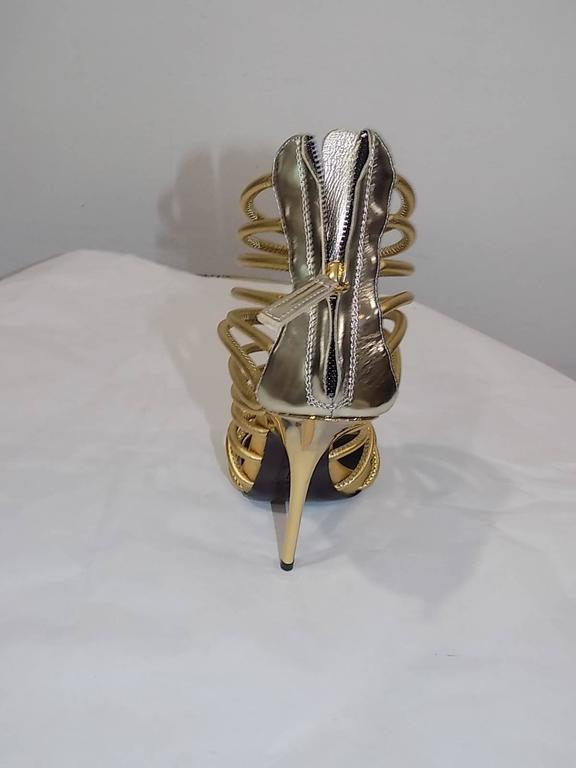 Women's Giuseppe Zanotti Metallic Gold Strappy  Bangle Sandal  For Sale