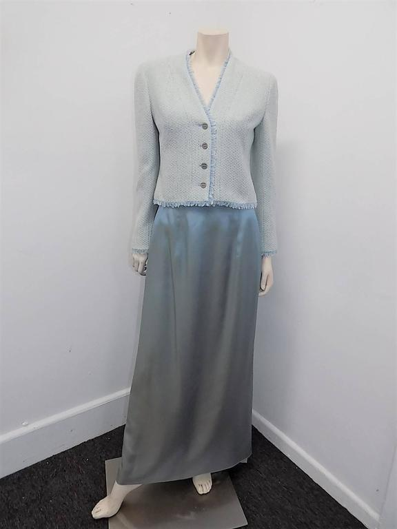 "Chanel lite blue long skirt  with accordion  ""carwash"" back  Collection  00C 6"