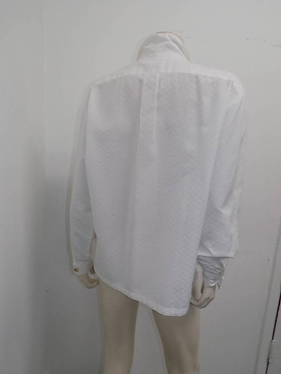Women's or Men's Hermes white Cotton shirt Blouse with horne buttons For Sale