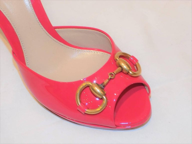 Gucci Sandals Shoes HOLLYWOOD Pink Patent Leather Heels ...