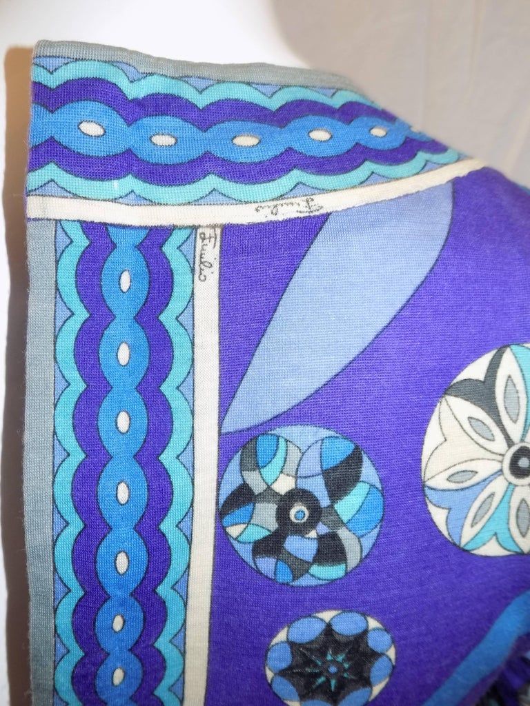 Pucci vintage blue print empire cut  wool and silk dress, 1970 For Sale 1