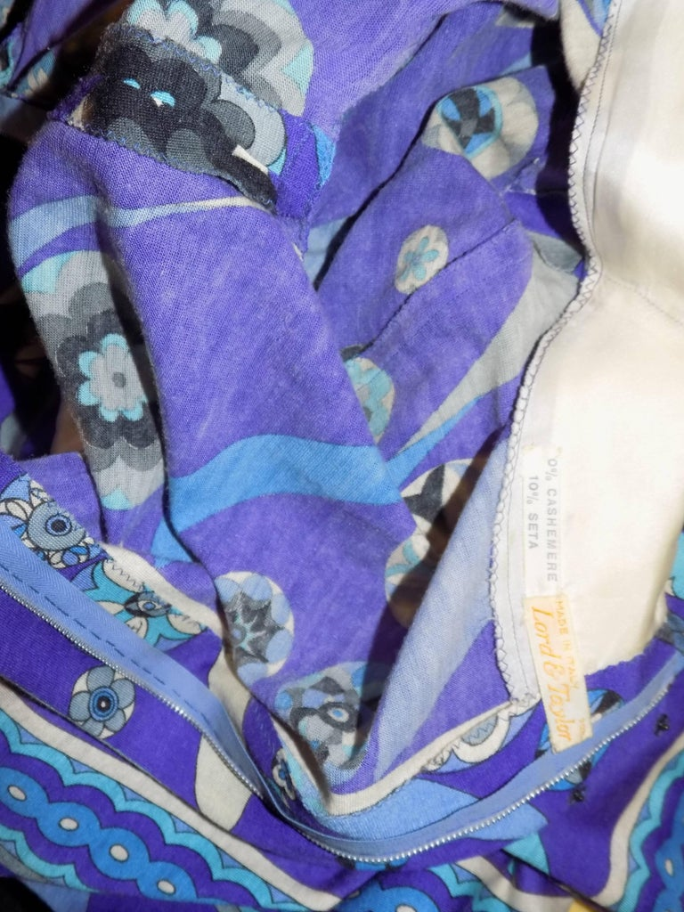 Pucci vintage blue print empire cut  wool and silk dress, 1970 For Sale 2