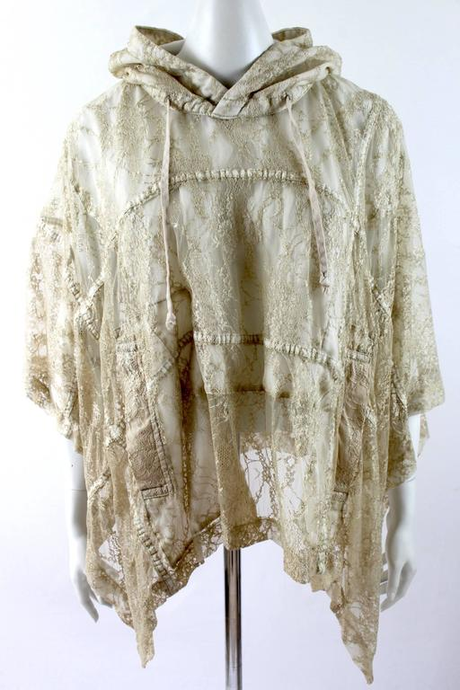 Comme des Garcons AD 2011 Gold Lace Hooded Poncho 2