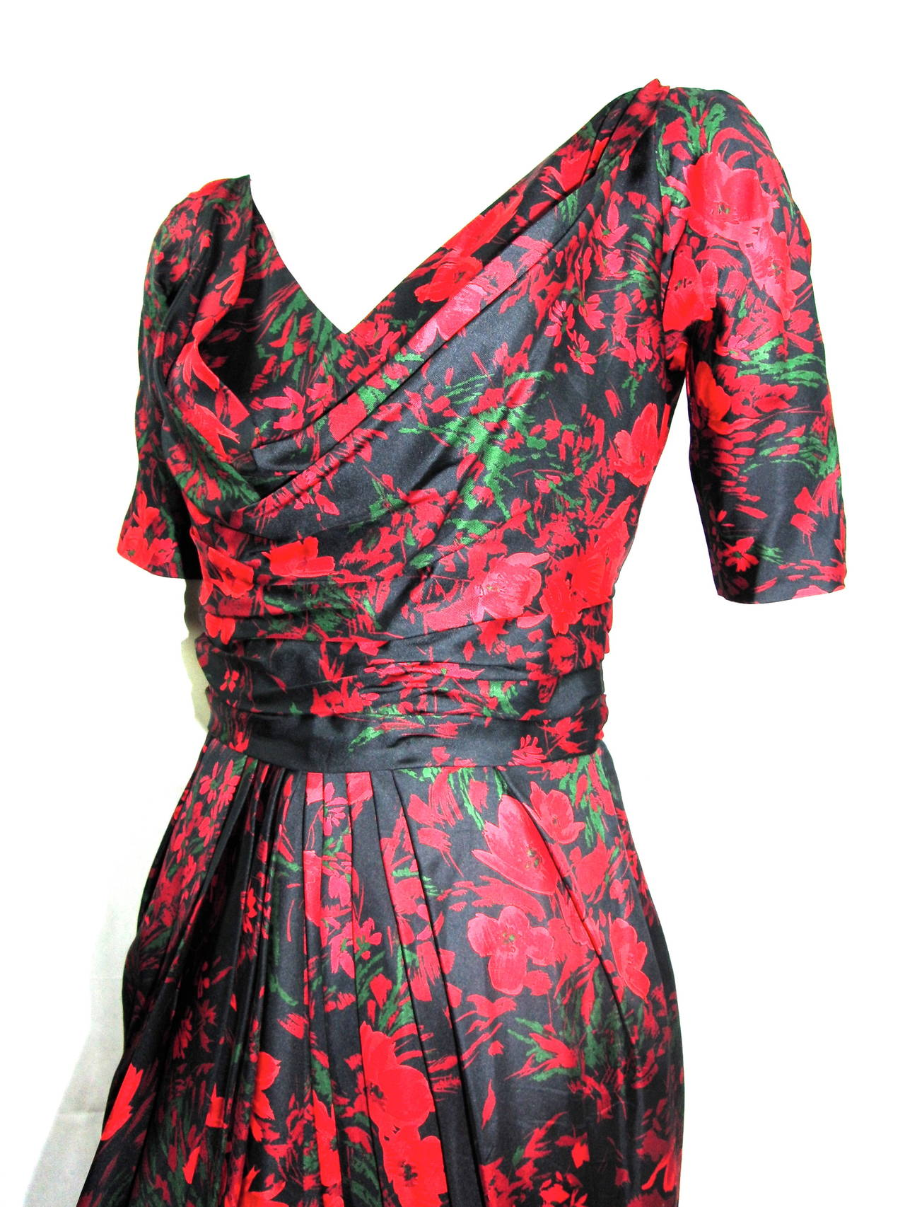 1960s Pauline Trigere Silk Cowl Drape Dress 7