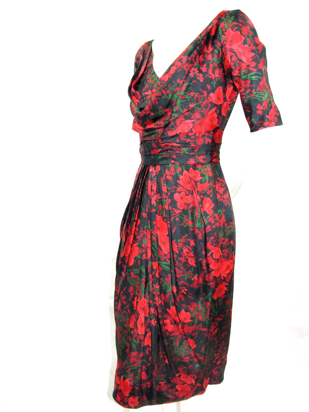 1960s Pauline Trigere Silk Cowl Drape Dress 3