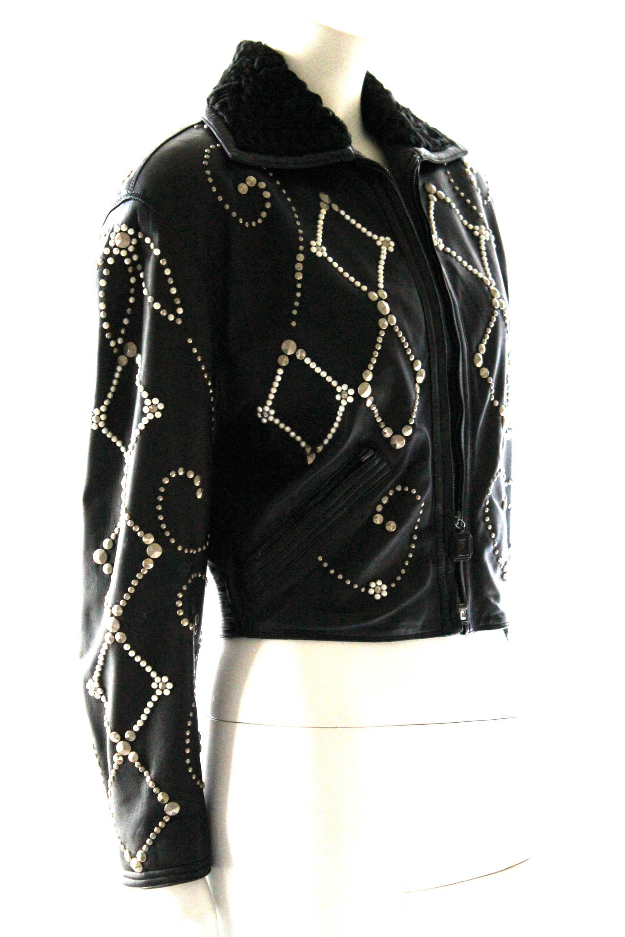 Gianni Versace Couture 1991 Madonna and Child Runway Leather Jacket 4