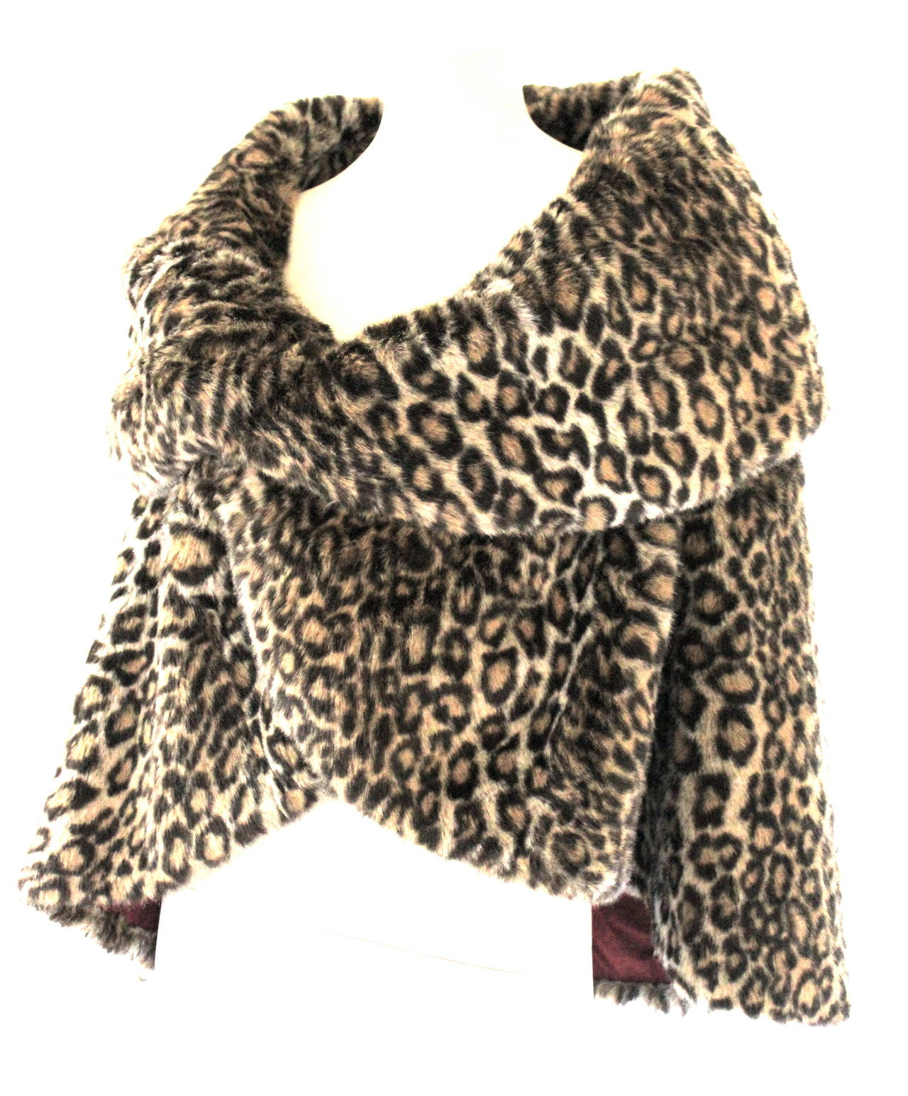 Junya Watanabe for CDG AD 2000 Faux Fur Leopard Cape For Sale 2