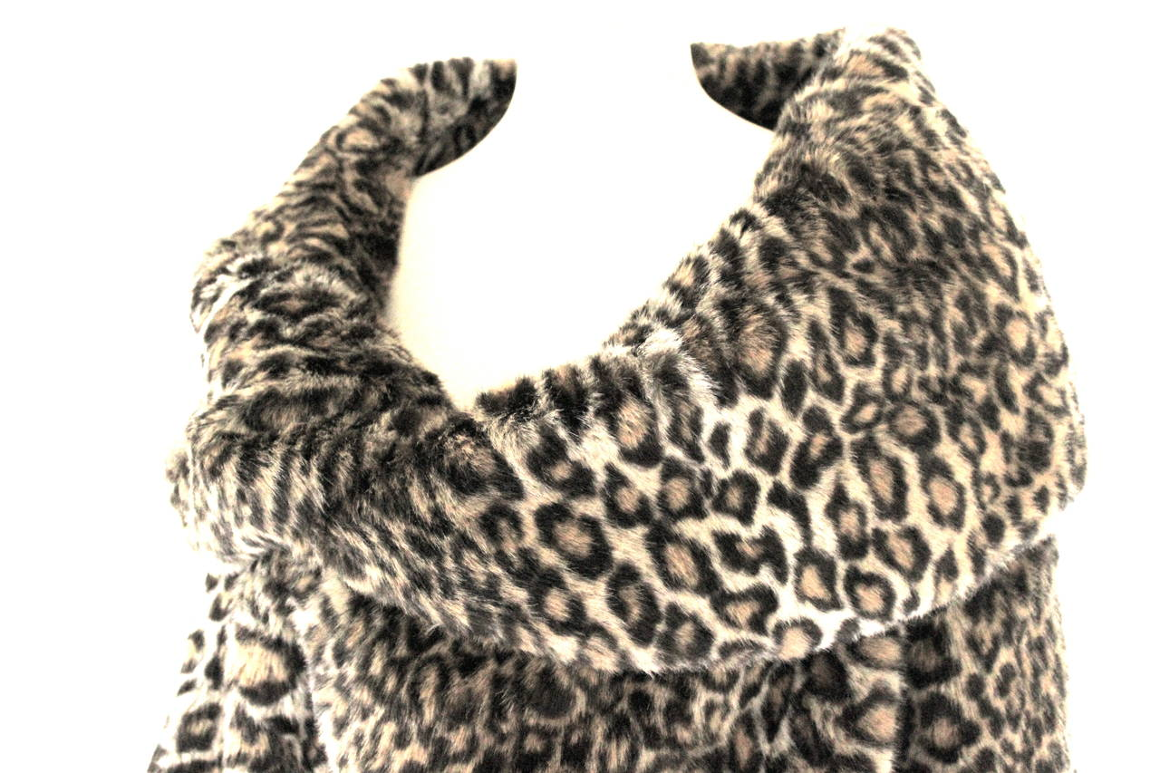 Junya Watanabe for CDG AD 2000 Faux Fur Leopard Cape For Sale 3