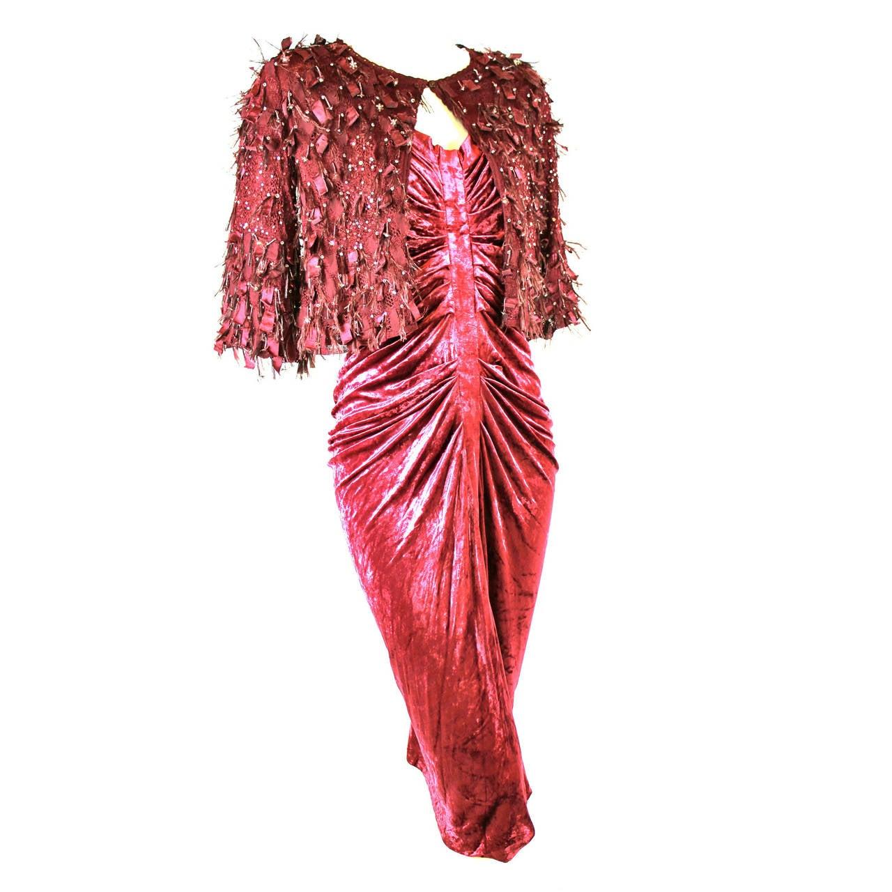 John Galliano Ruche Velvet Dress and Embellished Jacket at ...