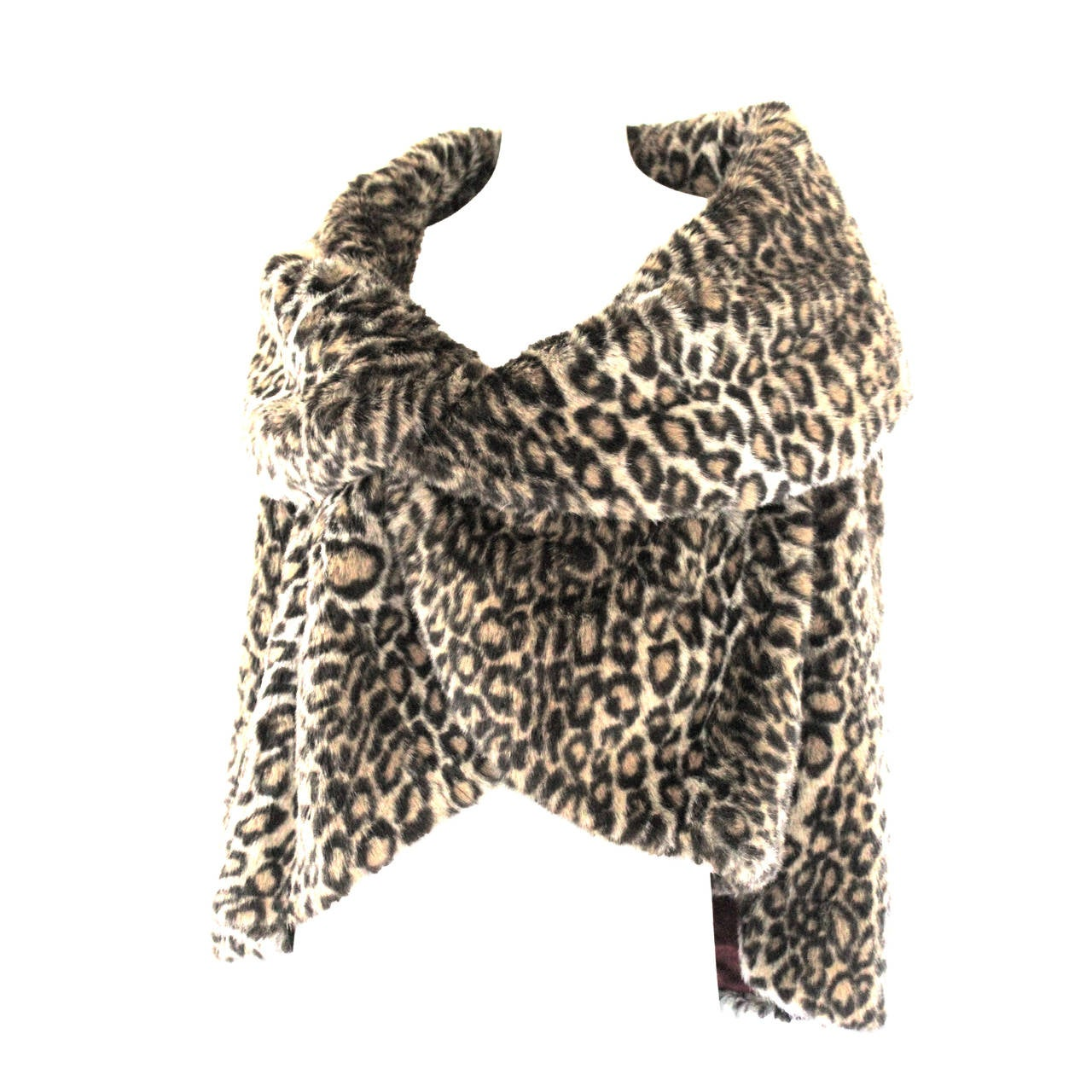Junya Watanabe for CDG AD 2000 Faux Fur Leopard Cape For Sale