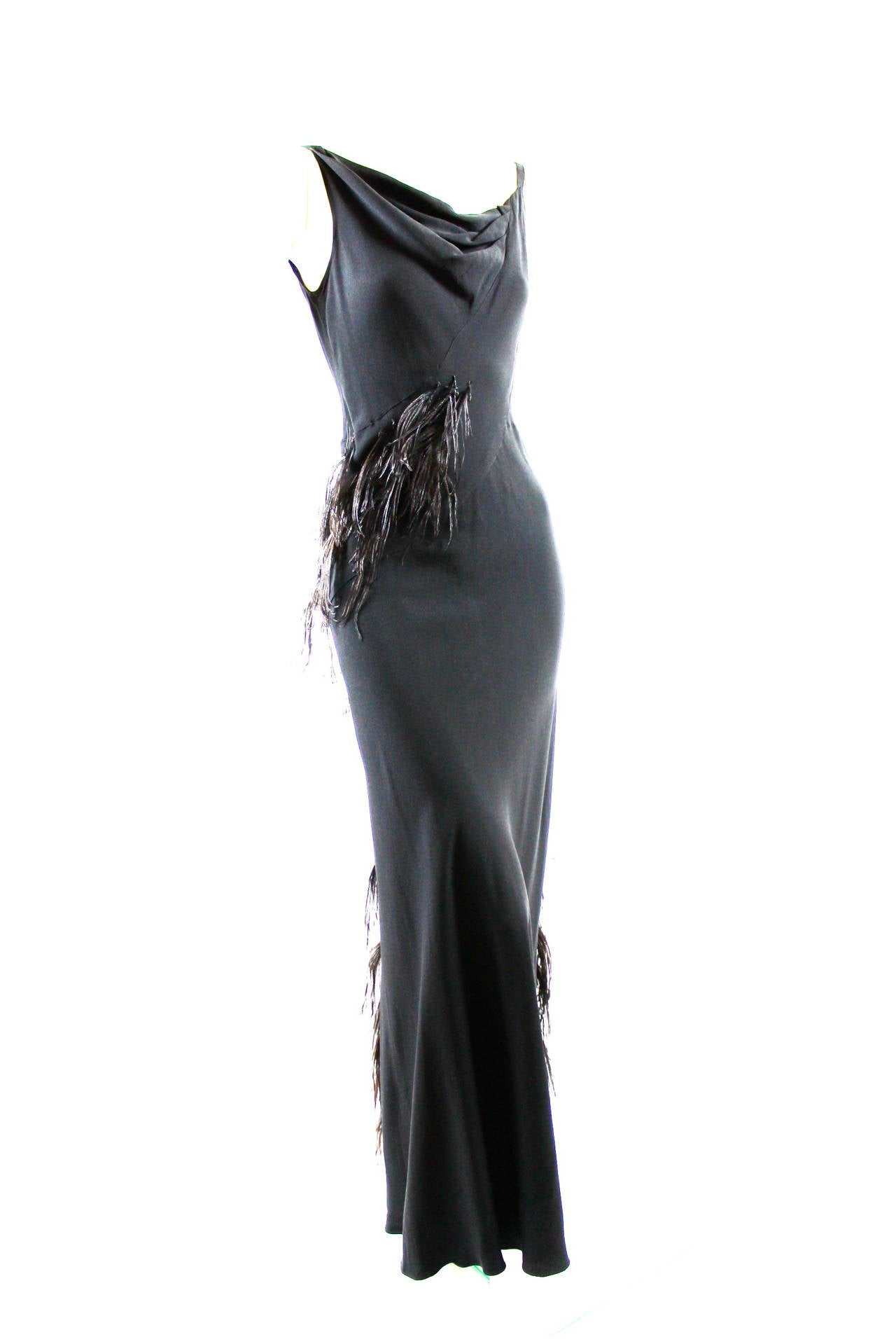 Paquin Couture 1930s Bias Satin Back Crepe and Ostrich Feather Gown 2
