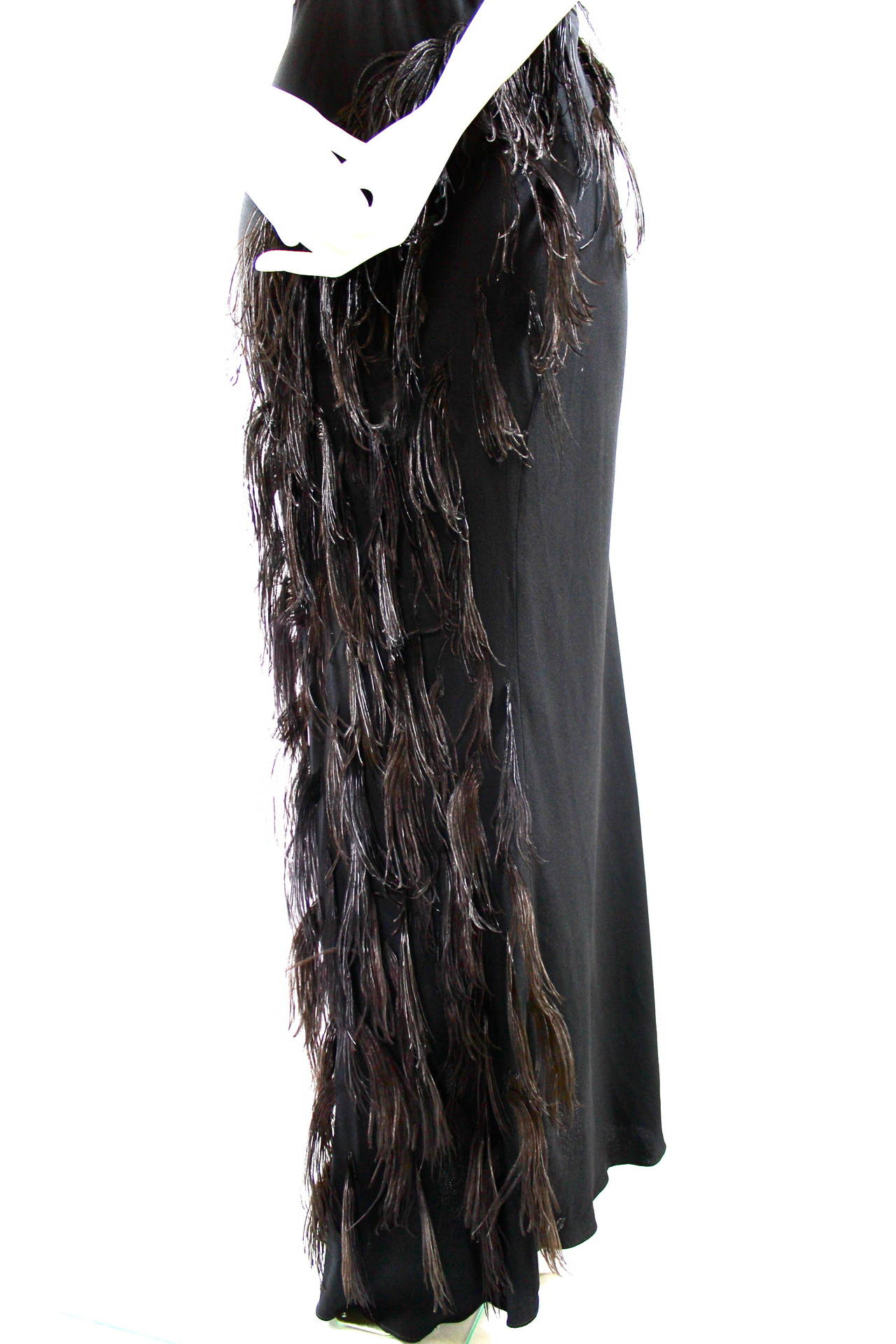 Paquin Couture 1930s Bias Satin Back Crepe and Ostrich Feather Gown 7