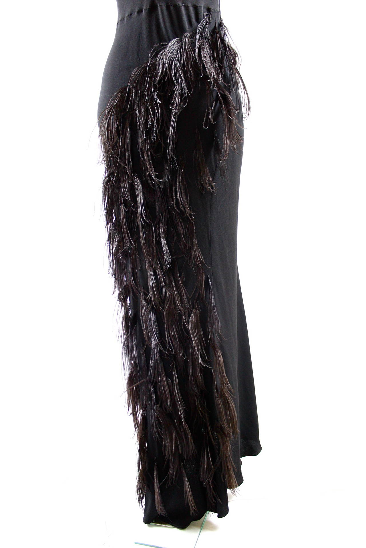 Paquin Couture 1930s Bias Satin Back Crepe and Ostrich Feather Gown 8