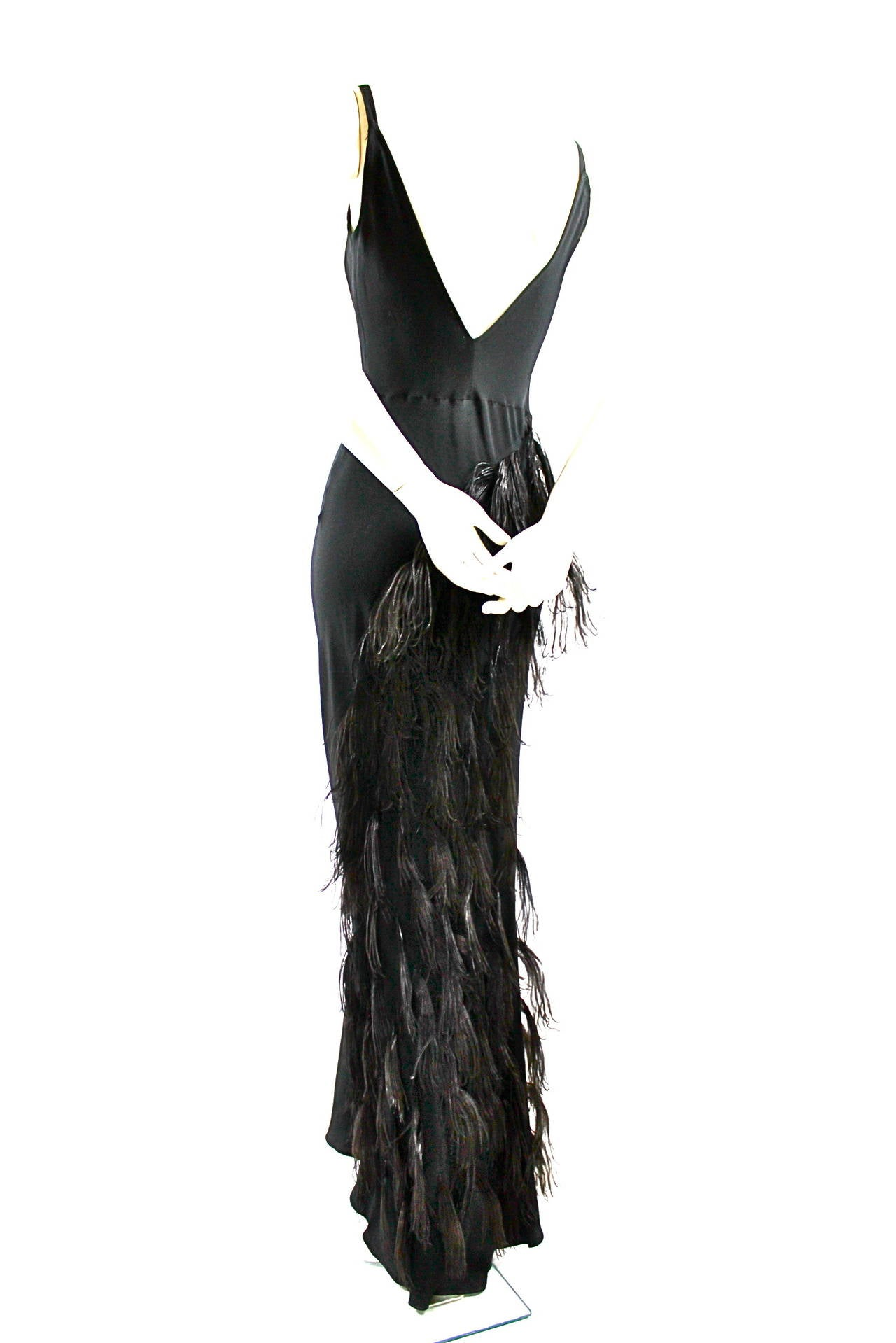 Paquin Couture 1930s Bias Satin Back Crepe and Ostrich Feather Gown 4